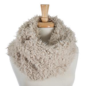 "Beige faux fur tube scarf. 100% polyester. Measures 16"" in width."