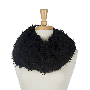 "Black faux fur tube scarf. 100% polyester. Measures 16"" in width."