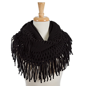 "Solid black infinity scarf with fringe detailing. 100% acrylic. Measures 18"" x 36"" in size."