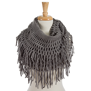 "Solid gray infinity scarf with fringe detailing. 100% acrylic. Measures 18"" x 36"" in size."