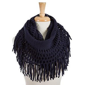 "Solid navy blue infinity scarf with fringe detailing. 100% acrylic. Measures 18"" x 36"" in size."