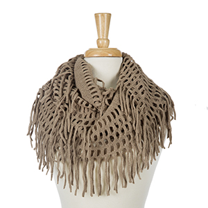 """Solid taupe infinity scarf with fringe detailing. 100% acrylic. Measures 18"""" x 36"""" in size."""