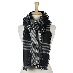 "Two sided, black and white plaid open scarf with houndstooth on the inside. 100% acrylic. Measures 20"" x 80"" in size."