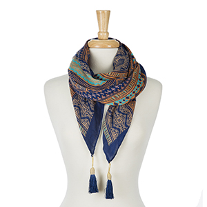 "Orange and navy blue printed square scarf with tassels on each corner. 100% polyester. Measures 50"" x 50"" in size."
