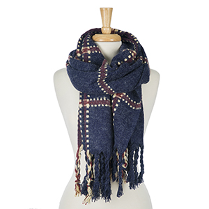 "Heavyweight navy blue scarf with a plaid print and tassels on the edges. 100% acrylic. Measures 24"" x 72"" in size."