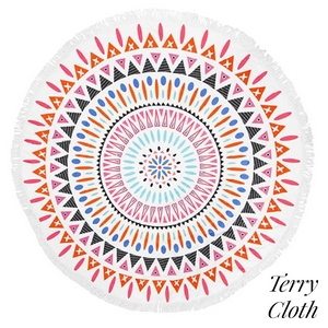 "Geometric printed terry cloth roundie beach towel with frayed edges. 70% polyester and 30% cotton. Approximately 57"" in diameter."