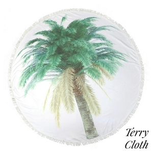 "Printed terry cloth roundie beach towel with frayed edges and palm tree leaves. 70% polyester and 30% cotton. Approximately 55"" in diameter."