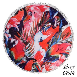 "Tropical bird printed terry cloth roundie beach towel with frayed edges. 70% polyester and 30% cotton. Approximately 55"" in diameter."