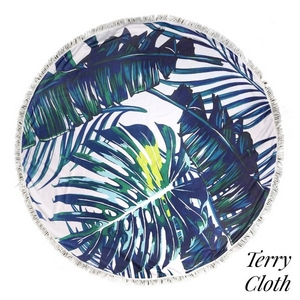 "Palm tree printed terry cloth roundie beach towel with frayed edges. 70% polyester and 30% cotton. Approximately 55"" in diameter."