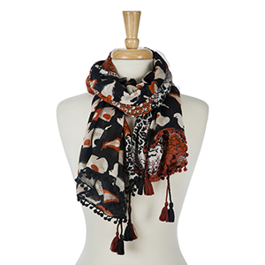 """Black floral printed, lightweight open scarf with tassels on the corners. 100% viscose. Measures 45"""" x 80"""" in size. Made in India."""