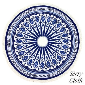 """Navy blue and white Greek Key printed terry cloth roundie beach towel with frayed edges. 100% cotton. Approximately 60"""" in diameter."""