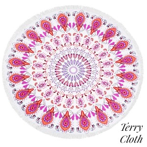 "Pink bohemian printed terry cloth roundie beach towel with frayed edges. 100% cotton. Approximately 60"" in diameter."
