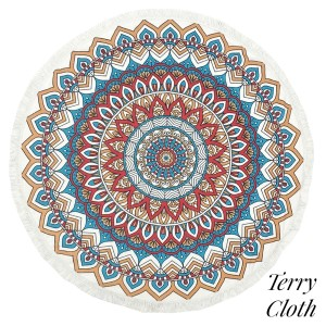 "Geometric printed terry cloth roundie beach towel with frayed edges. 100% cotton. Approximately 60"" in diameter."