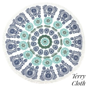 "Exotic floral printed terry cloth roundie beach towel with frayed edges. 100% cotton. Approximately 60"" in diameter."