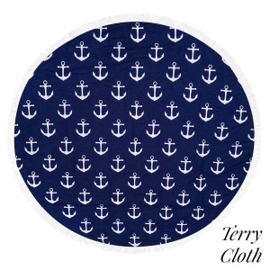 "Anchor printed terry cloth roundie beach towel with frayed edges. 100% cotton. Approximately 60"" in diameter."