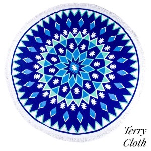 "Blue starburst printed terry cloth roundie beach towel with frayed edges. 100% cotton. Approximately 60"" in diameter."