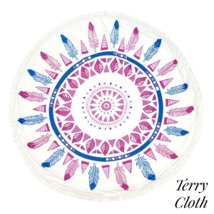 "Feather printed terry cloth roundie beach towel with frayed edges. 100% cotton. Approximately 60"" in diameter."