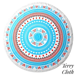 "Turquoise and orange printed terry cloth roundie beach towel with frayed edges. 100% cotton. Approximately 60"" in diameter."