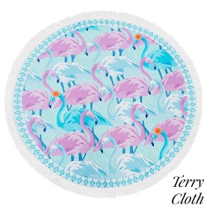"Flamingo printed terry cloth roundie beach towel with frayed edges. 100% cotton. Approximately 60"" in diameter."