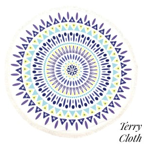 "Purple, yellow, and mint green printed terry cloth roundie beach towel with frayed edges. 100% cotton. Approximately 60"" in diameter."