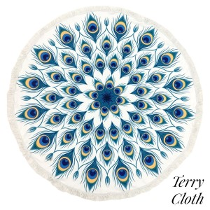 "Peacock feather printed terry cloth roundie beach towel with frayed edges. 100% cotton. Approximately 60"" in diameter."