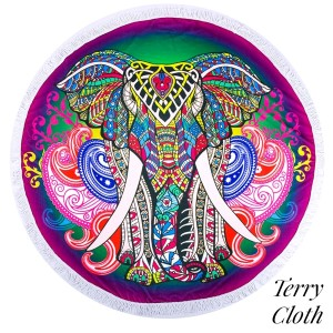 "Elephant printed terry cloth roundie beach towel with frayed edges. 100% cotton. Approximately 60"" in diameter."