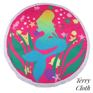 "Pink mermaid printed terry cloth roundie beach towel with frayed edges. 100% cotton. Approximately 60"" in diameter."