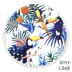 "Toucan and palm tree leaf printed terry cloth roundie beach towel with frayed edges. 100% cotton. Approximately 60"" in diameter."