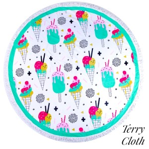 "Ice cream and popsicle printed terry cloth roundie beach towel with frayed edges. 100% cotton. Approximately 60"" in diameter."