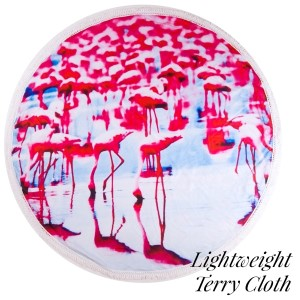 "Lightweight flamingo printed terry cloth roundie beach towel with frayed edges. 100% cotton. Approximately 60"" in diameter."