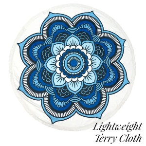 """Lightweight blue abstract printed terry cloth roundie beach towel with frayed edges. 100% cotton. Approximately 60"""" in diameter."""
