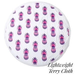 "Lightweight pink pineapple printed terry cloth roundie beach towel with frayed edges. 100% cotton. Approximately 60"" in diameter."