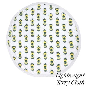 """Lightweight pineapple printed terry cloth roundie beach towel with frayed edges. 100% cotton. Approximately 60"""" in diameter."""