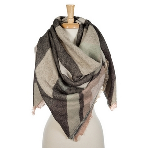"Mauve, gray, and black printed blanket scarf with frayed edges. 100% acrylic. Measures 56"" x 56"" in size."