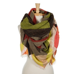 "Red, yellow, taupe, and black printed blanket scarf with frayed edges. 100% acrylic. Measures 56"" x 56"" in size."