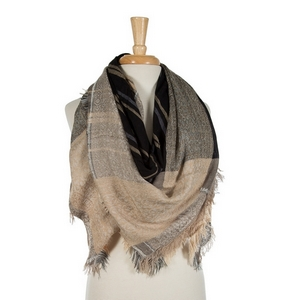 """Beige, gray, and black printed, lightweight, blanket scarf with frayed edges. 100% viscose. Measures 56"""" x 56"""" in size."""