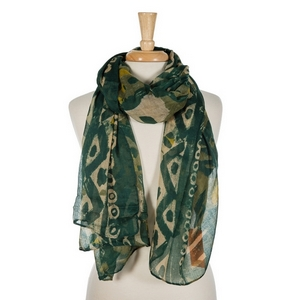 "Hunter green, olive green, and taupe abstract printed open scarf. 100% polyester. Measures 70"" x 42"" in size."