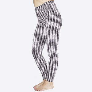 "New Kathy / New Mix, houndstooth printed peach skin leggings are seamless, chic, and a must-have for every wardrobe. These lightweight, full-length leggings have a 1"" waistband. They are versatile, perfect for layering, and available in many unique prints. 92% Polyester 8% Spandex. One size fits most, fits US women's 0-14."