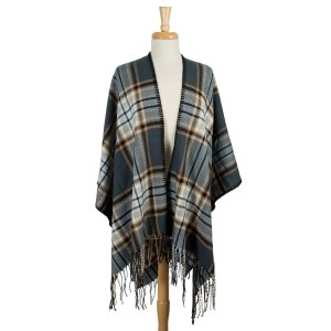 Navy blue, brown and light blue plaid cape with fringe along the edges. 100% acrylic. One size fits most.