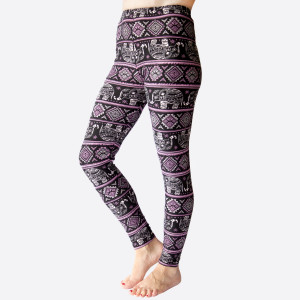 "New Kathy / New Mix printed peachskin leggings are seamless, chic, and a must-have for every wardrobe. These lightweight, full-length leggings have a 1"" waistband. They are versatile, perfect for layering, and available in many unique prints. 92% Polyester 8% Spandex. One size fits most, fits US women's 0-14."