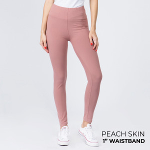 "These New Mix Brand peach skin leggings are seamless, chic, and a must-have for every wardrobe. These lightweight, full-length leggings have a 1"" waistband. They are versatile, perfect for layering, and available in many colors. 92% Polyester 8% Spandex. One size fits most, fits US women's 0-14."