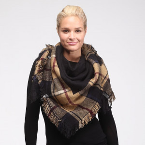 "Two tone, reversible plaid blanket scarf with frayed edges. 100% acrylic. Measures 50"" x 50"" in size."