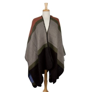 Heavyweight cape with a multicolored square pattern and black stitching around the edges. 100% acrylic. One size fits most.