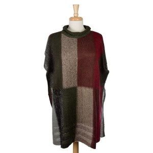 Mock turtleneck poncho with a checked print and designated sleeves. 100% acrylic. One size fits most.