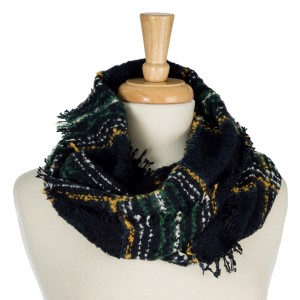 """Heavyweight infinity scarf with a tweed/plaid print. 100% acrylic. Measures 16"""" x 30"""" in size."""