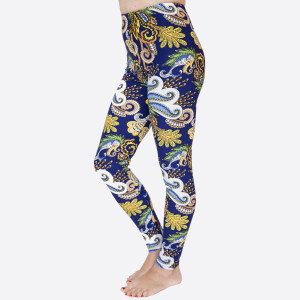 "New Kathy / New Mix printed peach skin leggings are seamless, chic, and a must-have for every wardrobe. These lightweight, full-length leggings have a 1"" waistband. They are versatile, perfect for layering, and available in many unique prints. 92% Polyester 8% Spandex. One size fits most, fits US women's 0-14."
