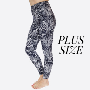 "PLUS SIZE- New Kathy / New Mix printed peach skin leggings are seamless, chic, and a must-have for every wardrobe. These lightweight, full-length leggings have a 1"" waistband. They are versatile, perfect for layering, and available in many unique prints. 92% Polyester 8% Spandex. One sized, fits US women's 16-20."