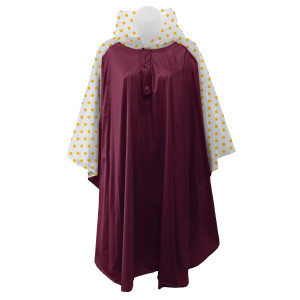 One size, hooded rain poncho with a polka dot pattern on the sleeves. 100% PVC.