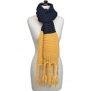 "Heavyweight, knit, open scarf with a two tone pattern and tassels on the ends. Measures 86"" x 7"" in size and is perfect for gameday!"