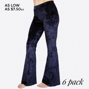 """Crushed Velvet Flare Pants featuring a hip-hugging fit, pull-up front closure, and flared legs.   - Elastic at Waist  - Skinny Fit  - Mid Rise  - Pull up style  - Care: Machine Wash Cold, Do not Bleach, Tumble Dry Low, Iron Low  - Imported   Composition: 95% Polyester, 5% Spandex   Pack Breakdown: 6pcs/pack. 2S: 2M: 2L  Inseam: S-31"""", M-32"""", L-33"""""""